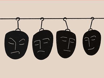 State of mind - illustration black flat design expression face thoughts feeling mind emotions procreate graphic design illustration