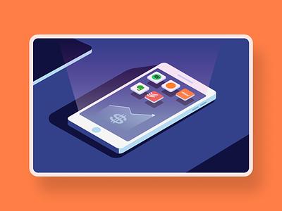 Mobile apps subscriptions - Blog illustration socialmedia internet subscription phone isometric apps mobile graphic design adobe illustrator illustrator illustration
