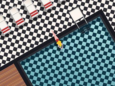 Blonde Into Blue swim woman vector pool minimal illustration design geometric