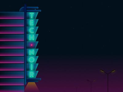 Tech Noir retro geometric theater night neon illustration building cyberpunk terminator