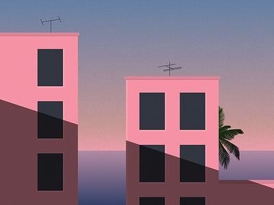 Miami Sunset, 1988 print poster geometric minimal house building architecture vector 1980s outrun retro graphic design design illustration