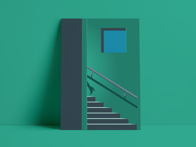 Don't wait up… nighttime staiwell night high heels green stairs poster shadows minimal illustration