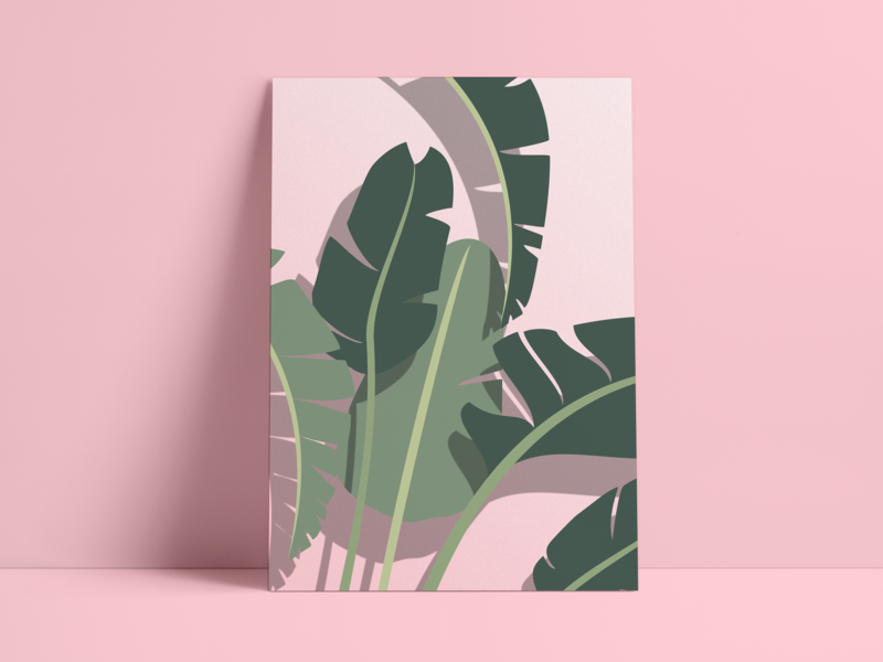 Pretty Bird design shadow poster bird of paradise palm plant illustration