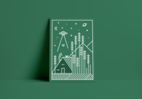You'll Lose Your Heart in the Woods ufo trees planet space aliens green forest woods cabin poster line vector illustration design