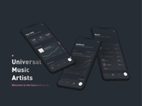 Universal Music Artists product design product data visualization dark ui mobile analytics data ux ui vector design