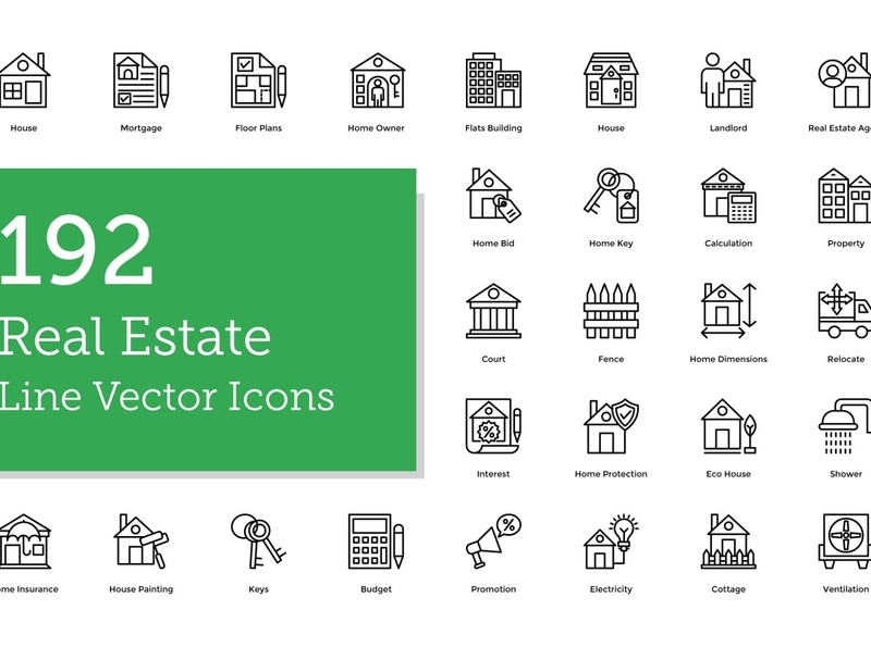 192 Real Estate Line Icons social media startup icon icons icons design icon graphic design flat icons design dashboard branding