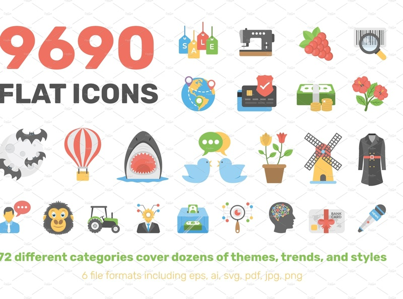 9690 Flat Icons Pack icons flat startup icons design icon graphic design flat icons design dashboard branding