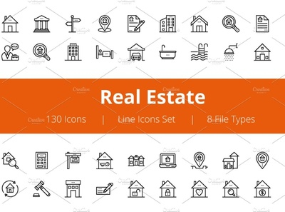 125+ Real Estate Line Icons social media startup icon icons icons design icon graphic design flat icons design dashboard branding