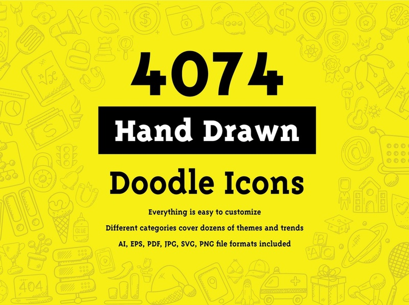 4074 Hand Drawn Doodle Icons social media startup icon icons icons design icon graphic design flat icons design dashboard branding