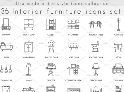 36 Furniture ultra modern line icons logo social media startup icon icons icons design icon graphic design flat icons design dashboard branding
