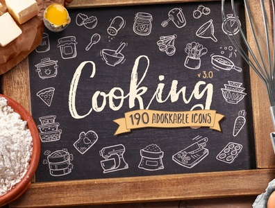 Cooking Hand Drawn Icons cook cooking startup icon icons icons design icon graphic design flat icons design dashboard branding