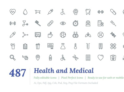 487 Health and Medical Line Icons startup logo social media startup icon icons icons design icon graphic design flat icons design dashboard branding