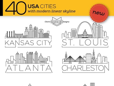 40 USA Cities Linear Skyline startup logo social media startup icon icons icons design icon graphic design flat icons design dashboard branding