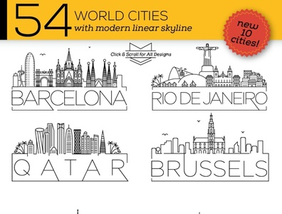 54 Different World Cities Skyline social media startup icon icons icons design icon graphic design flat icons design dashboard branding
