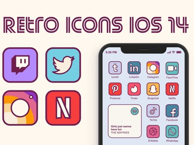 iOS 14 Retro Home Screen Icons logo social media startup icon icons icons design icon graphic design flat icons design dashboard branding