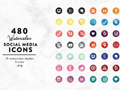 Watercolor Social Media Icons