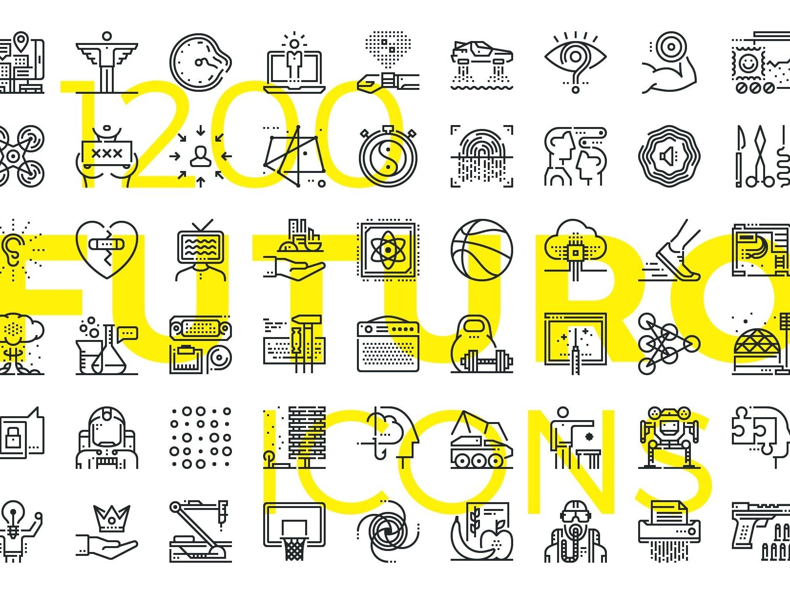 Futuro line icons preview creativemarket