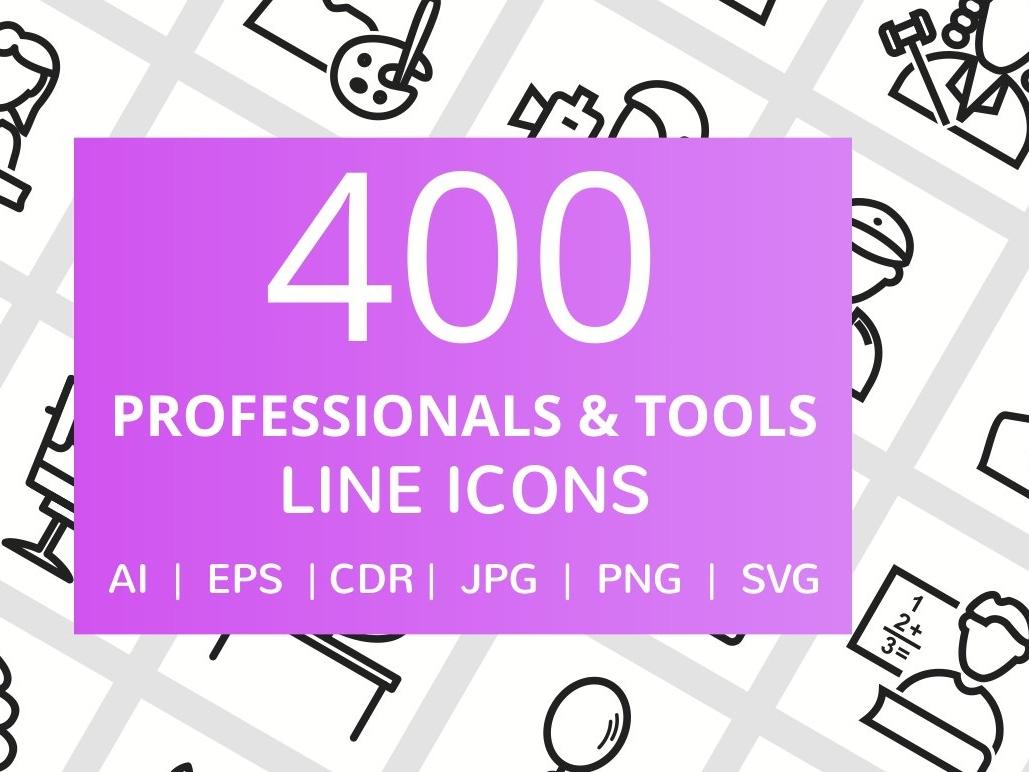 400 Professionals & Tools Line Icons line  icons tools professionals logo design logo branding flat startup icon startup social media logo icons design icons icon graphic design flat icons design dashboard branding