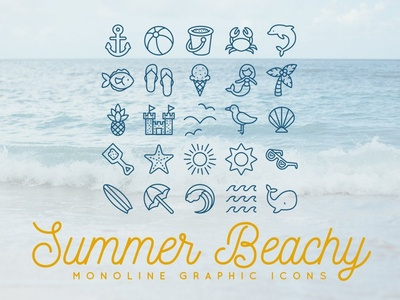 25 Summer Beach Monoline Icons