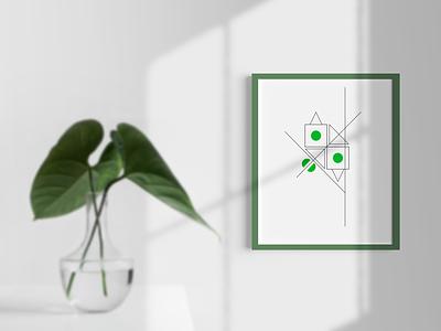 minimal plant composition interior design composition geometric dribbble poster art 2d minimal illustration design