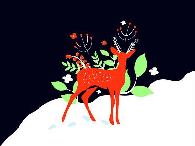 Deer illustration art design christmas minimal poster 2d adobe illustrator illustration deer merry christmas