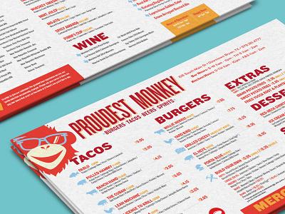 Proudest Monkey Menu Design illustration logo branding typography food monkey design restaurant icons color print menu