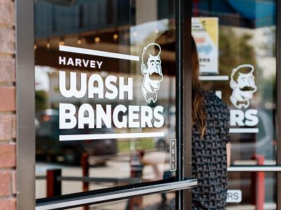 Harvey Washbangers Logo laundry restaurant logodesign portrait design typography illustration type branding logo