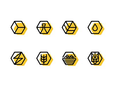 Bee Granola icon set honey honey icon натуральное иконки icons pack natural icon natural bee icon bee flat design icons icon set ui branding brand designer логотип лого logo nazariy dudnik logotype