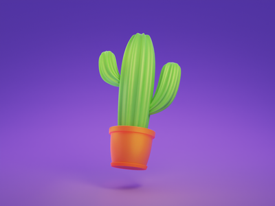 Cute cactus in a flowerpot flowepot purple lightning 3d icon simple 3d 3d art cute 3d blender 3d 3d illustration 3d artist illustraion cactus 3d website web ui game assets game art blendercycles blender3d blender 3d