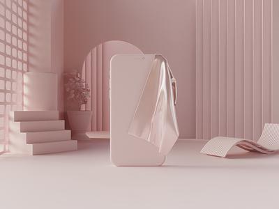 Pure interior phone render pure lightning soft render hdri pink esthetic scene 3d render blender