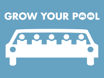 Grow Your Pool graphic design icon grow your pool car pool public transportation commuter connection
