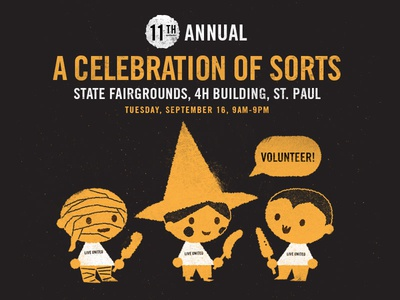 A Celebration Of Sorts Invite minnesota st. paul united way a celebration of sorts state fair vampire dracula witch mummy halloween illustration invite