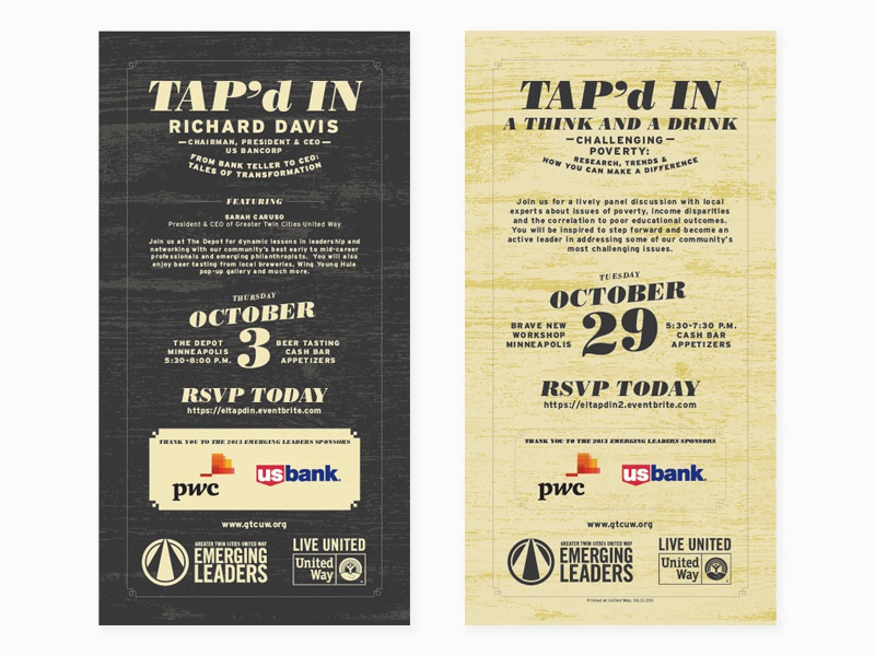 Tap'd In Invite twin cities minnesota typography wood grain emerging leaders greater twin cities united way united way tapd in print design print card invite