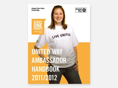 United Way Ambassador Handbook trade gothic live united typography graphic design minnesota twin cities greater twin cities united way united way cover handbook print design print