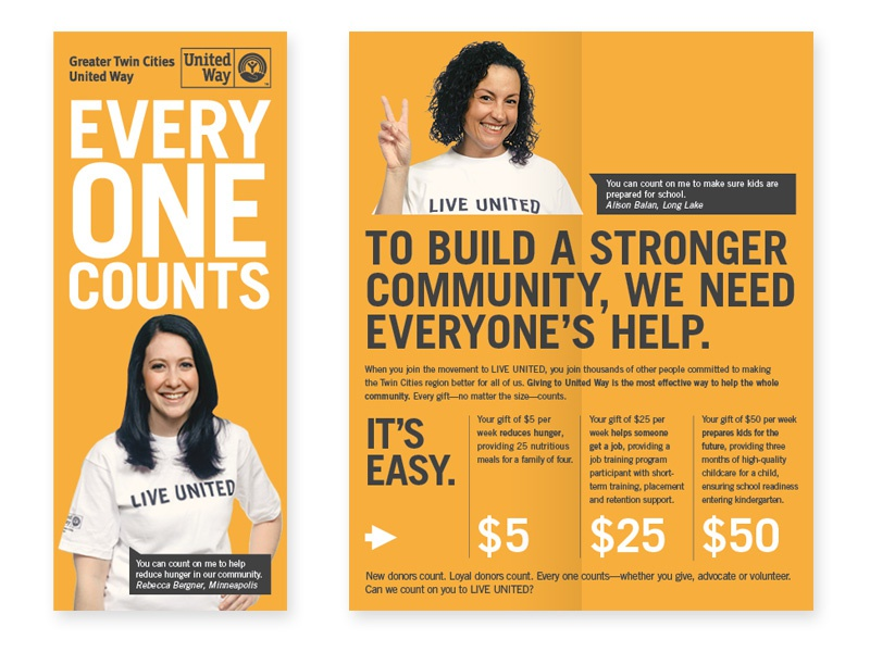 United Way Brochure publication minnesota photography graphic design twin cities greater twin cities united way united way typography print design print spread brochure