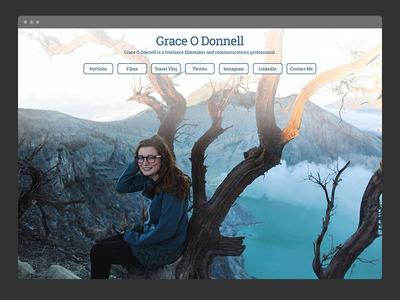 Grace O Donnell landing page ui filmmaker minimal profile web portfolio css html front end landing page web design website