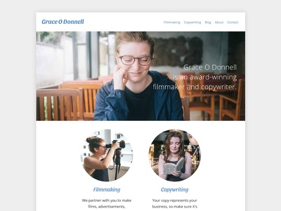 Grace O Donnell's Website web design front end responsive website web ui profile portfolio minimal html filmmaker css