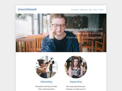 Grace O Donnell's Website web design front end responsive website web ui profile portfolio minimal html filmmaker css