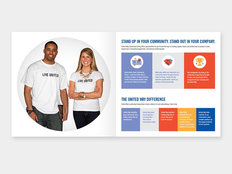 Leadership Giving Brochure united way typography twin cities spread print design print minnesota brochure greater twin cities united way graphic design design leadership giving
