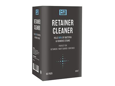 Retainer Cleaner Packaging Design retainer cleaner dentist retainer teeth minimalist branding print design graphic design design box packaging packaging design