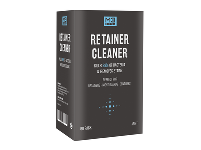 Retainer Cleaner Packaging Design retainer cleaner dentist retainer teeth minimalist branding print design graphic design design box packaging packaging design