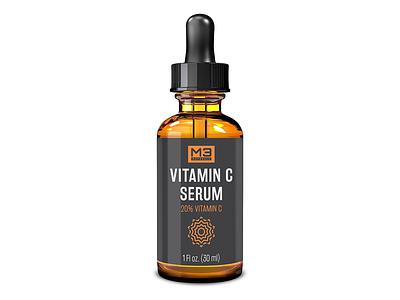 Vitamin C Serum Label Design vitamin c dropper label design label print design print packaging design packaging minimalist graphic design design branding