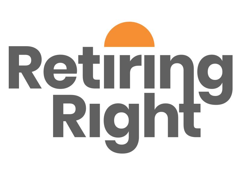 Retiring Right Logo Design sun sunset retirement typography identity design identity logo design logo icon branding brand design brand