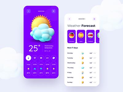 Weather app 3D style icon uxui illustration flat weather app cloudy sunny 3d purple weather forecast mobile temperature weather design uiux ux ui clean application app