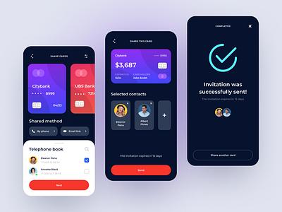Credit card sharing App mobile app design dark app dark ui uxui banking sharing shared share bank card dark app mobile clean application concept design ux uiux ui