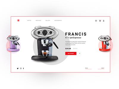 iperEspresso Machine Francis concept landingpage wedesign ui design store shop coffee machine modern clean design cafe machine espresso coffee uiux ux ui