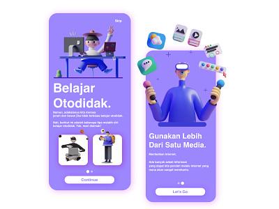 On Boarding Mobile E-Course iphone app iphone illustration design ux uiux clean ui uiuxdesign ui uiux design