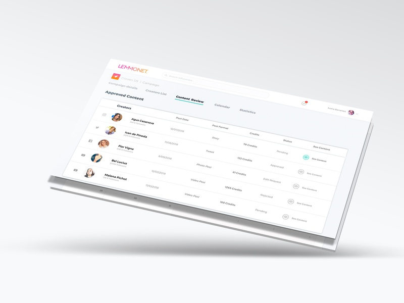 Lemmonet Influencers report design website web ux ui minimal flat design