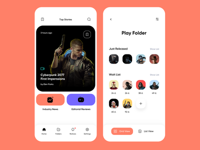 Play Folder - Video Game Industry News & Release Tracking videogames video games mobile ui mobile app design mobile app mobile ios ux ui minimalistic interface clean app design app