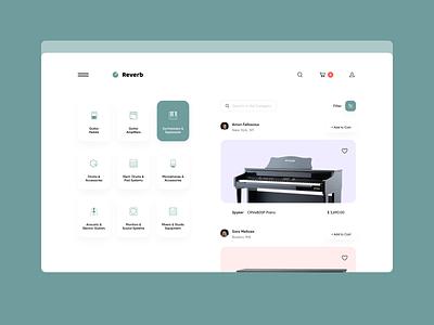 Reverb - Used Music Equipment Marketplace marketplace ux ui minimalistic interface clean website design website web